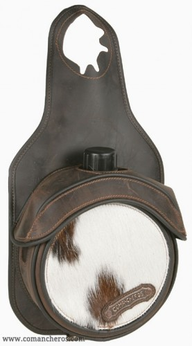 Bottle holder pommel bag in cowhide