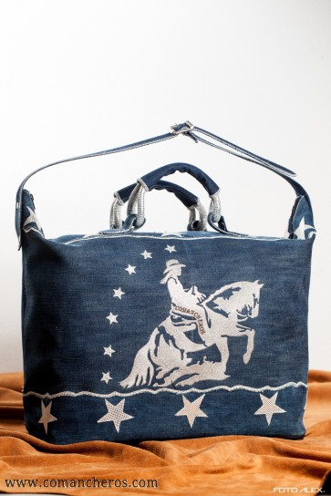 Travel Bag Comancheros made from Stone-wash Denim and Leather