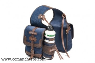 Rear saddlebag in denim with bottle holder
