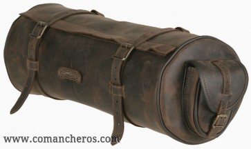 Round saddle bag with pockets for western saddle in Leather