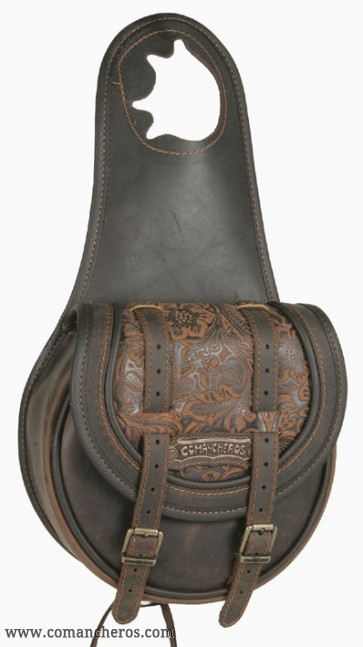 Western pommel bag with double buckle