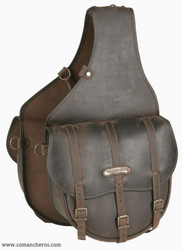Rear saddlebags in leather with three straps