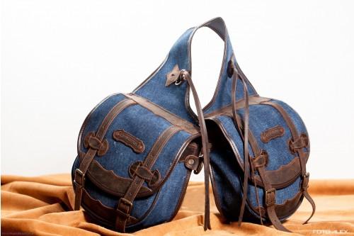 Medium rear saddlebags in denim