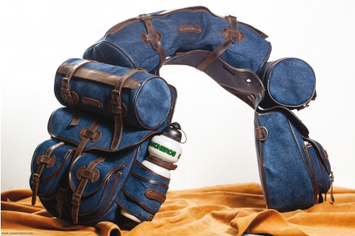 Trekking saddlebag set in denim