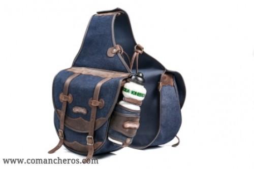 Large saddlebag in denim with bottle holder