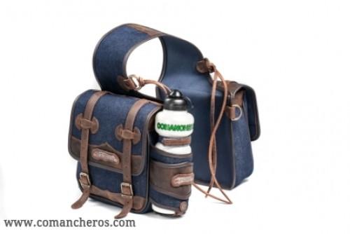 Medium saddlebag in denim with bottle holder