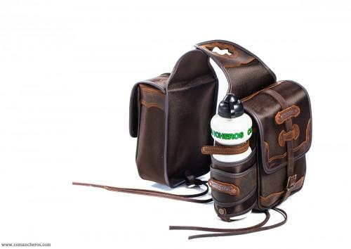 Double pommel bag with bottle holder