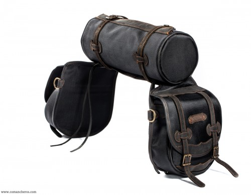 Black mid-sized rear saddlebags with roll