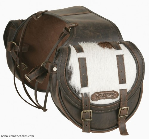 Mid-sized rear saddlebags with cowhide