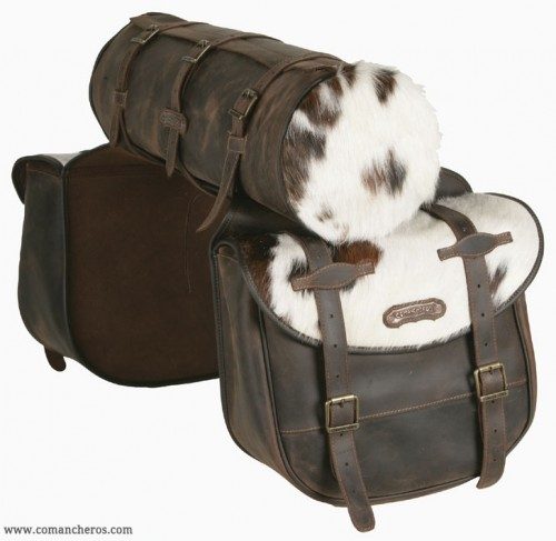 Saddlebags with roll and cowhide