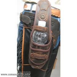 Bottle holder for saddle and belt made waterprrof leather