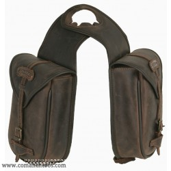 Leather Horn Saddle Bags with buckle