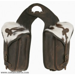 Duoble Horn saddle bag Comancheros in leather with calf hair