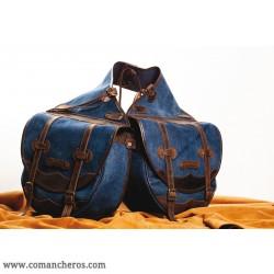Large saddle bag,  for Western saddle made from Stone-Wash Denim