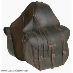 Large Rear saddlebags with buckle and three straps in Leather