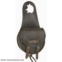 Single Horn saddle bag in Leather with buckles