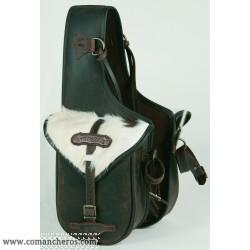 Rear small saddle bag Comancheros with calf hair,
