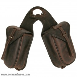 Leather double Horn saddle bag with quick release