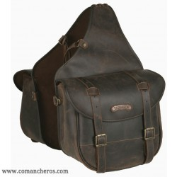 Leather Rear Horse saddlebags with buckle