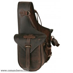 Small rear saddle bag with quick release in Leather