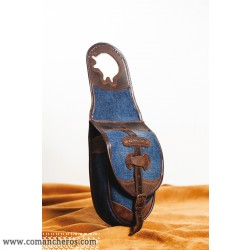 Single saddle bag  made from  jeans Stone-Wash and Leather