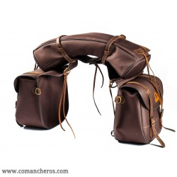 Large saddle bag in nylon and leather for western saddle