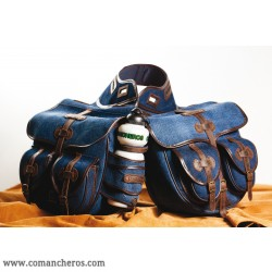 Large rear saddle bag made from Denim for Trekking saddle