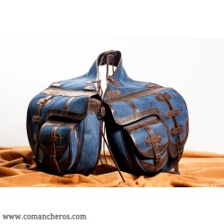 Saddle bag with four pockets for Western saddle made from Denim