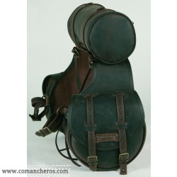 Rear saddlebag  small size made from Leather with round saddlebag