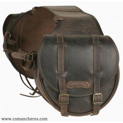 Rear saddlebag  medium size made from Leather with buckles