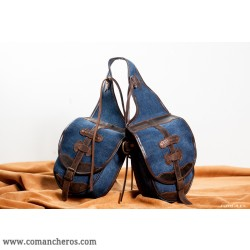 Rear and front  riding saddle bag made from Stonewash Denim