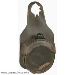 bag bottle holder for western saddle in Leather