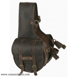 Rear small saddlebag made from Leather with buckles