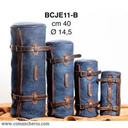 Round saddle bag in Stone-Wash Denim