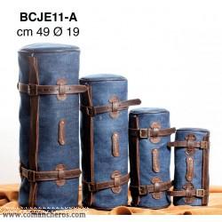 Round saddle bag made from Stone-Wash Denim