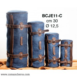 Small Round saddle bag in Stone-Wash Denim