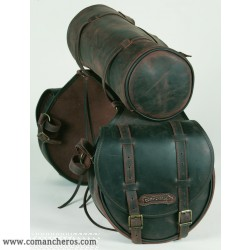 Rear saddlebag  medium size made from Leather with round saddle bag