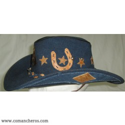 Hat Comancheros Made From waterproof Denim and Leather