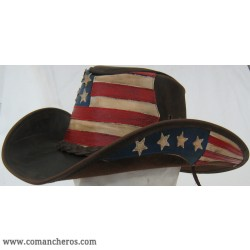 Comancheros Hat with American Flag made from Leather