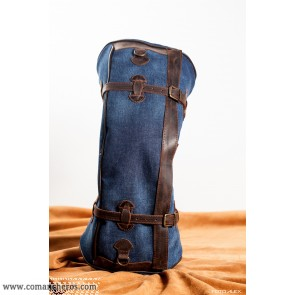 Banana saddlebag in denim and leather