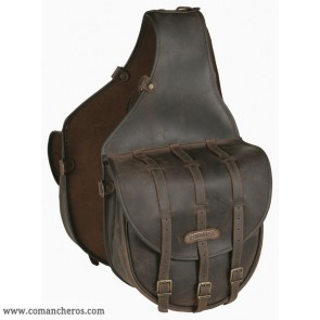 Large  rear Saddle bag with buckle in Leather for Western saddle