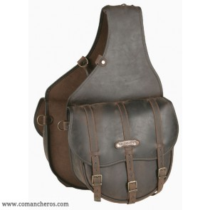 Large Saddle bag with buckle in Leather for Western saddle