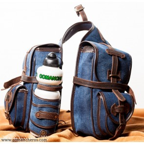 Front saddle bag for trekking made from Stone-Wash Denim waterproof