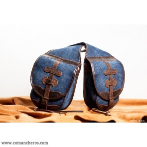 Double pommel saddle bag Comancheros made from stone-wash denim and  Leather
