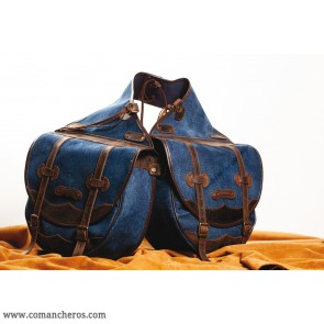 Large saddle bag,  for Western saddle made from Stone-Wash Denim
