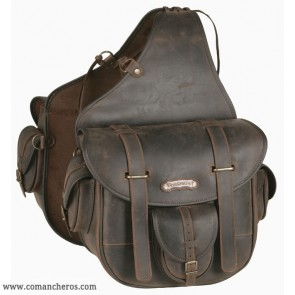 Large  rear Leather saddle bag with quick release and pockets