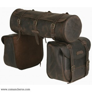 Large  rear Saddle bag  with Round saddle bag in Leather
