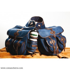Large rear saddle bag made from Denim for Trekking saddle