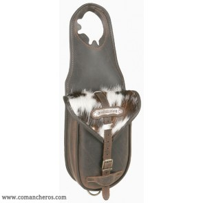 Single Horn saddle bag Comancheros in Leather with calf hair