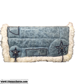 Blue Leather Saddle Pad